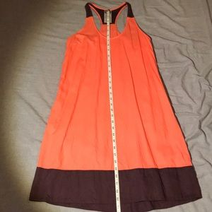 Patagonia coral and purple cotton dress.